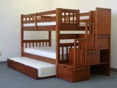 Bunkbeds with an extra trundle bed and storage drawers. Bunk Bed King, Bunk Bed With Trundle, Cool Bunk Beds, Bunk Beds With Stairs, Twin Bunk Beds, Bed Stairs, Loft Beds, Toddler Bunk Beds, Kid Beds