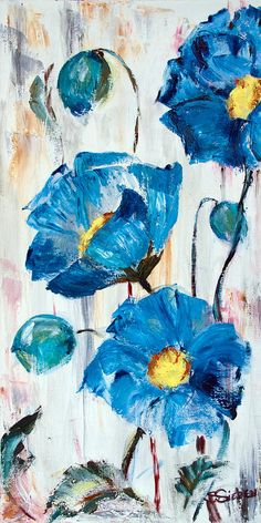 Blue Poppies Painting by Sharon Sieben - Blue Poppies Fine Art Prints and Posters for Sale Más