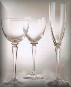 """Crystal stemware: """"Amadeus"""" by St. Louis    The """"hocks"""" are super-tall wine goblets and they look AWESOME in a place setting (I like to mix things of various heights). The dark blue color goes perfectly with the border of the Royal Lapis china."""