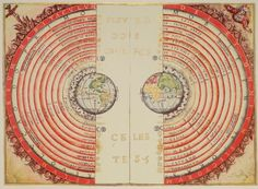 Figure of the heavenly bodies - Illuminated illustration of the Ptolemaic geocentric conception of the Universe by Portuguese cosmographer and cartographer Bartolomeu Velho (?-1568). From his work Cosmographia, made in France, 1568 (Bibilotèque nationale de France, Paris).