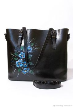 Buy Bag leather black belt with hand-drawing Zhostovo flowers blue - bag Tighter Skin, Buy Bags, Black Belt, Bag Making, Bucket Bag, Leather Bag, How To Draw Hands, Drawing, Metal
