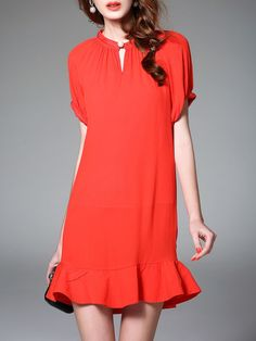 Tootang - Ruffled Plain Mini Dress. SKU: MI3G6770. Price: $66.