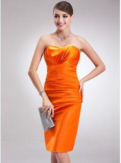 $102.99 - Sheath/Column Sweetheart Knee-Length Charmeuse Cocktail Dress With Ruffle  www.dressfirst.com