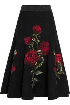 Dolce & Gabbana Floral-appliquéd wool-blend crepe skirt £2,300