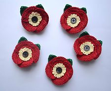5 x Crochet Red Cotton Poppy Flower Brooch/Corsage. Remembrance Day