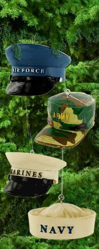 Military Hat Ornament, how cute!! and when u buy stuff from this websight it provides meals to homeless veterans!! dcstanley
