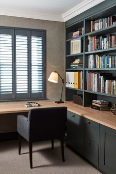 Dark coloured interiors make a stylish elegant home office. Open book shelves and shutters create a calming mood Home Study Rooms, Home Library Rooms, Home Library Design, Home Room Design, Office Interior Design, House Rooms, Office Interiors, Modern Study Rooms, Small Study Rooms