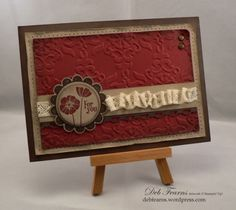The red is Cherry Cobbler and looks great when stamped on crumb cake paper! The stamp set is a Sale-a-bration set called Punch Bunch SAB). Birthday Thank You, Birthday Cards, Flower Stamp, Cool Cards, Paper Design, Stampin Up Cards, Cardmaking, Just For You, Paper Crafts