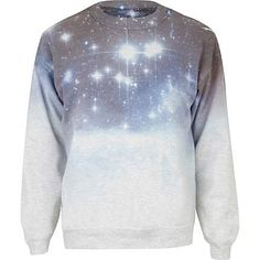 RIVER ISLAND GREY COSMIC PRINT SWEATSHIRT