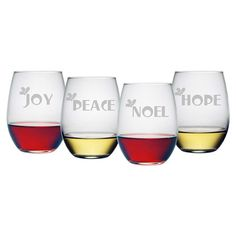4 stemless wine glasses with festive sand-etched typographic and holly details.  Product: 4 Piece stemless wine glass set