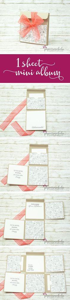 One-Sheet Mini-Album * Designpapier Kreativ Koloriert * Cardstock Taupe * Rüschenband in Melonensorbet * Stempelset  Auf den ersten Blick * www.papierrascheln.de