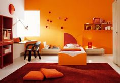 Here is Luxury Kids Room Decor and Design ideas Photo Collections at Kid Bedroom Design Gallery. More Design and Decorating for Luxury Kids Room Decor Ideas can you found at her Bedroom Orange, Bedroom Red, Orange Walls, Bedroom Decor, Modern Bedroom, Night Bedroom, Master Bedroom, Bedroom Simple, Bedding Decor