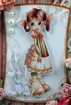 I coloured her with my Copics -  Skin : E0000, E000, E00, E11, R11, R20 Hair: E00, E11, E13, E15, E19 Clothes and Bunny: E50, E51, E53, YR00, YR01, YR02, YG 63, YG67 SWG Original Designs: Easter Dress at A Creative Romance