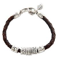 Leather braided bracelet, 'Angel of Nature' by Henry Anthony Sanny