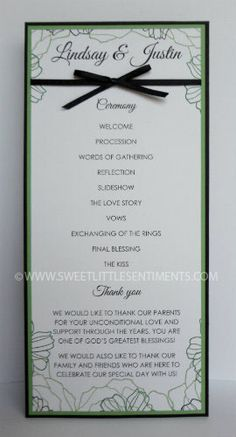 This elegant program features hand stamped flowers and high quality cardstock. Custom, handmade, premium quality wedding stationery, perfect for a spring wedding!