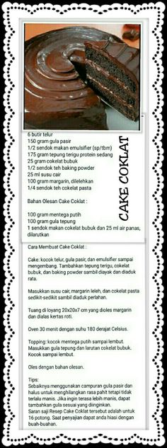 Cukis coklat Pastry Recipes, My Recipes, Cake Recipes, Resep Cake, Secret Recipe, Indonesian Food, Hijabs, Yummy Cakes, Cake Cookies