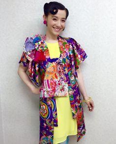 子供着物を大人ワンピースにアレンジ*・゜・*:.。..。. お袖フリルがポイント♪コサージュも手作り♪ #着物リメイク