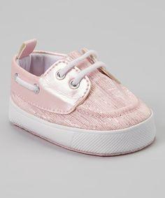 Look what I found on #zulily! Pink & Silver Glitter Boat Shoe #zulilyfinds