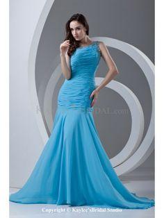 Chiffon Asymmetrical Neckline Mermaid Sweep Train Directionally Ruched Prom Dress