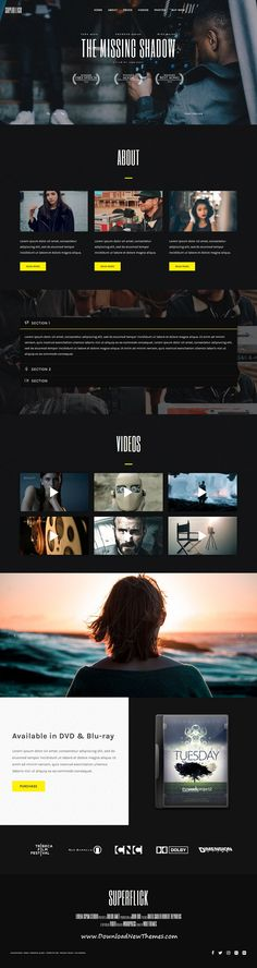 Superflick is clean and modern design 10+ responsive #WordPress #template for #movie #studios, video artists, #filmmakers, vloggers and agencies website to download & live preview click on image or Visit #webdesign