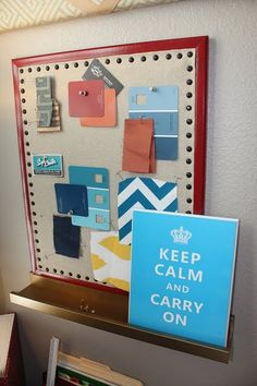 Fabric covered cork pin board
