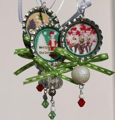 Bottle Cap Christmas Ornaments by Me :)