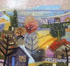 Carol Saunderson - The First Snow Shower  Limited Edition Print £70