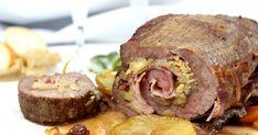 Una rica aleta de ternera rellena de manzana y avellanas , al horno, que puedes ver en mi blog Julia y sus recetas. Aleta, Steak, Pork, Bacon, Beef, Healthy, Salads, Apple Filling, Chicken Cake