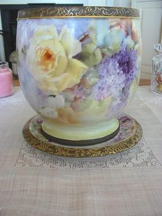 Gorgeous Antique Limoges France Jardiniere~Roses~Lilacs (photo only)