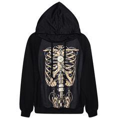 Black Cool Womens Skeleton Printed Pullover Hoodie ($31) ❤ liked ...
