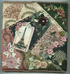 I ❤ crazy quilting, beading & ribbon embroidery . . . Paris Box. Project for the Omaha quilter's guild June 2008. Various materials-photo transfer image, silk threads, lucite & glass beads, hand dyed silk ribbons, hand painted venice lace, buttons & charms. ~By Lisa Thoma Caryl
