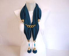 Scarf Teal Turquoise Blue Women Jersey Scarf Woman by bytugce, $29.00