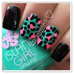 Turquoise with pink cheetah nails