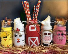 Granero y granja animales temática tarro de masón establece, cumpleaños decoración del partido, decoración del cuarto de niños