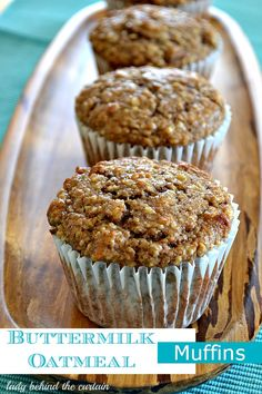 These hearty buttermilk oatmeal muffins will satisfy your muffin craving and fill you up at only 154 calories {for a regular size muffin}.