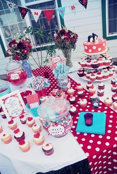 Sweet red polka dots wedding dessert table  Didn't think I wanted such bright colors but I really like this.