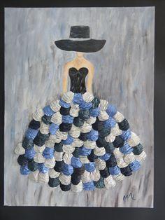 Femme mystérieuse réalisé par Marie-Anne Lemercier à la peinture acylique et des capsules découpées