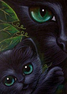 """Black Cat and Kitten - A Mother& Love"" par Cyra R. Black Cat Art, Black Cats, Warrior Cats, Eye Art, Cat Drawing, Pics Art, Art Portfolio, Beautiful Cats, Animal Drawings"