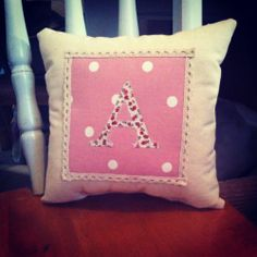 Shabby Chic Personalised Girls Cushion/Birthday/Christening/Baby Shower Gift