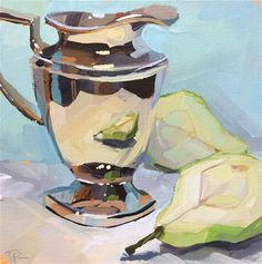 """Daily Paintworks - """"Simply Silver and Pears"""" - Original Fine Art for Sale - © Teddi Parker Gouache Painting, Painting & Drawing, Watercolor Paintings, Academic Drawing, Still Life Oil Painting, Art Studies, Fine Art Gallery, Art Sketchbook, Beautiful Paintings"""