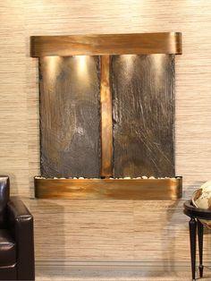 Aspen Falls - Green Slate - Rustic Copper - Rounded. For above basement bar.
