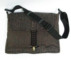 Messenger style laptop bag chocolate brown plaid and tweed wool made from recycled mens suit coats, The Urban Gentleman via Etsy