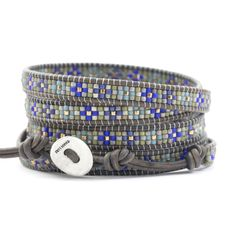 Blue Mix Beaded Wrap Bracelet on Natural Grey Leather - Chan Luu