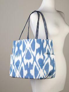 Denim Blue and Off-White Ikat Handbag