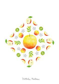 Illustrated fruit poster by Nathalie Ouederni - kitchen art | www.studiokalumi.com
