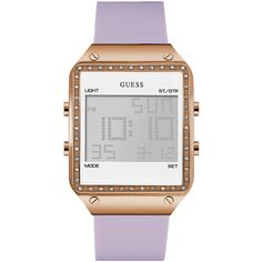 GUESS Lavender and White Digital Watch ($125) ❤ liked on Polyvore featuring jewelry, watches, rectangular watches, rectangle watches, rectangular digital watch, digital wristwatch and white digital watch