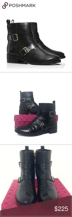 """Like New Tory Burch Riley Black Buckle Moto Boots Authentic  Tory Burch Black Riley Multi-Buckle Bootie. Retail $425 In excellent condition with very little wear. No scuffs.  Size 9.5 M Comfortable low-heel pull-on zippered classic that works with jeans as well as dresses — and can comfortably transition the seasons. Made of tumbled black leather with a bit of hardware edge, it balances rugged and refined perfectly.  1.4"""" (3.5 cm) semi-stacked heel. Leather upper. Zipper with gold buckle…"""