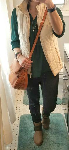 Stitch Fix top, jeans, and purse!