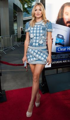 """Kate Hudson.  HBO's """"Clear History""""  Balmain dress with patchwork print, floral embellishments, and crisscross pockets.  metallic Jimmy Choo clutch suede Casadei platform pumps."""