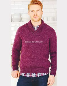 Cosy man's sweater FREE pattern, stylish ribbed-collar sweater (hva)